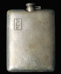 Sterling Silver Hand Hammered Arts Crafts 5 8 Pint Whiskey Flask Bar Barware