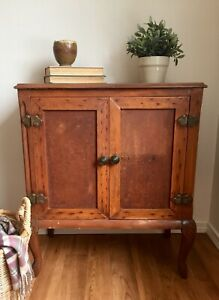 Antique Cabinet Accent Table Vintage Storage Wood Farmhouse Rustic Shelves