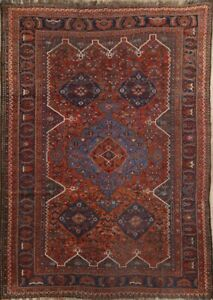 Pre1900 Antique Nomadic Tribal Red 7x10 Wool Qashqai Area Rug 10 6 X 7 5