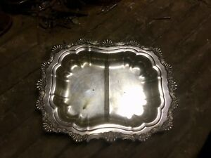 Antique Silver Plate Shell Pattern Divided Serving Dish