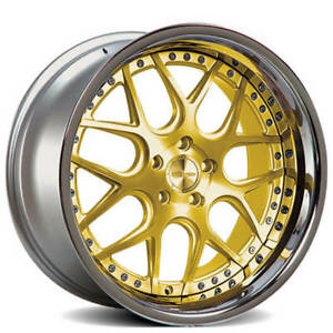 Set4 19 Staggered Rennen Wheels Csl 2 Gold With Chrome Step Lip Rims Fs