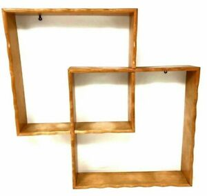 Vintage Mid Century Modern Wall Shelf Decor Geometric Wooden Mcm