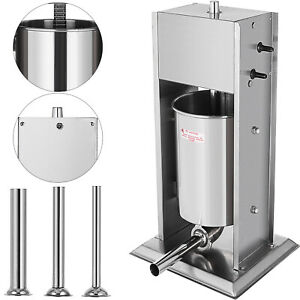 15l Sausage Filler Stuffer Maker With 4 Tubes Meat Mince Dual Speed Vertical