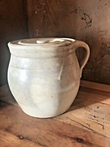 Vintage Cream Crock With Lid Water Line Mark