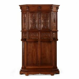 French Gothic Revival Carved Walnut Antique Wine Liquor Cupboard Cab