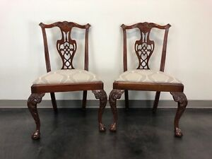 Hickory Chair Chippendale Ball In Claw Mahogany Dining Side Chairs Pair 2