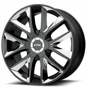 20 Kmc Km710 Takedown Black With Chrome Inserts Wheels And Tires