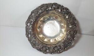 Sterling Silver Fancy Pierced Footed Bowl Repousse Floral Design 9 3 8