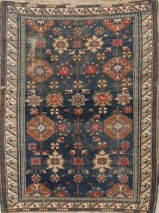 Pre 1900 Antique Fine Handmade 4x5 Wool Kazak Shirvan Russian Oriental Area Rug