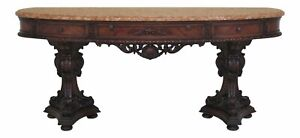 F30533ec Vintage 1920s Marble Top Heavily Carved Walnut Sideboard