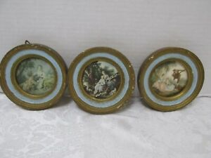 3 Vtg Italian Gold Gilt Gesso Small Wood Framed Pictures Music Romance Scenes 4