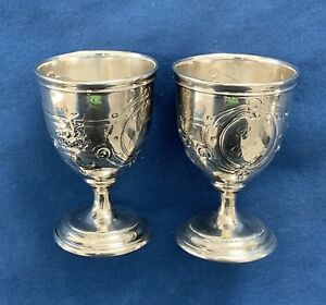 Pair Of Small Coin Silver Stemmed Goblet Cups Paul To Blanche American Floral