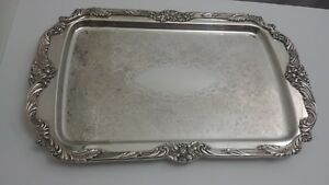 Reed Barton King Francis 1646 Silver Plated Serving Platter 18 75 X 12