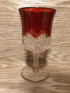 Vintage Ruby Red Glass Crystal Wine Glass Collectible