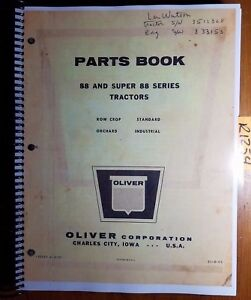 Oliver 88 Super 88 Tractor Parts Book Catalog Manual S1 9 k5 9 57
