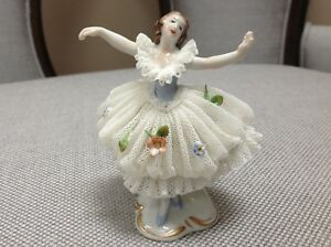 Antique Germany Porcelain Lace Ballerina Figurine
