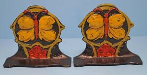 Antique Butterfly On Flower Cast Iron Bookends Circa 1920 S