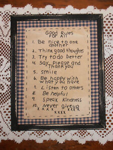 Primitive Stitchery Good Rules For All Handmade Framed Rustic Home Decor