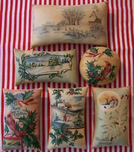 6 Primitive Christmas Birds Postcard Ornies Tucks Bowl Filler
