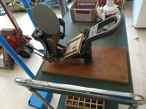 Vintage Letter Press Machine 3 X 5 Printing Bed Comes With 10 Boxes Of Type
