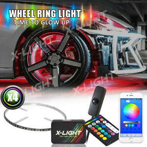 Wireless Remote App Controlled 4pc 15in Car truck Wheel Ring Rgb Light Kit
