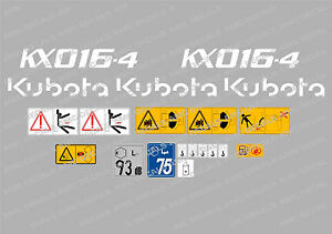Kubota Kx016 4 Mini Digger Complete Decal Set With Safety Warning Signs