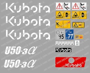 Kubota U50 3 Mini Digger Complete Decal Set With Safety Warning Signs