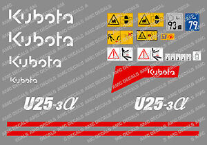 Kubota U25 3 Mini Digger Complete Decal Set With Safety Warning Signs