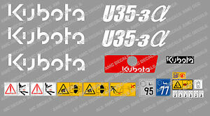 Kubota U35 3 Mini Digger Complete Decal Set With Safety Warning Signs