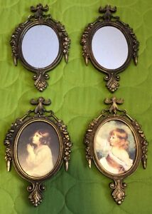 Set Of 4 Vintage Ornate Baroque Made In Italy Oval Framed Pictures And Mirrors