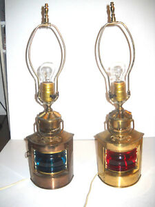 Pair Vintage Brass Lantern Ship Lights Red Green Maritime Table Lamps