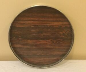 Round Silver Plate With Laminated Wood Serving Tray Platter 14 Diameter