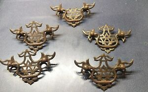 Vintage Set Of 5 Antique Metal Drawer Bureau Pulls Drop Bail Handle