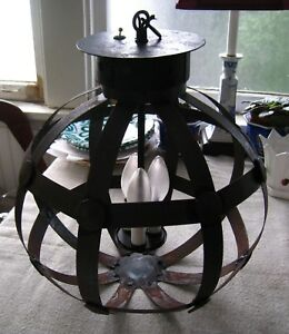 Vintage Wrought Iron Chandelier Hanging Lantern Large Sold As Is