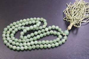 19th Chinese Antique Green Jade Prayer Beads Necklace Antique