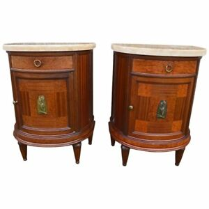 Pair Of French Art Deco Mahogany Bedside Tables Gueridons Nightstands 1920s