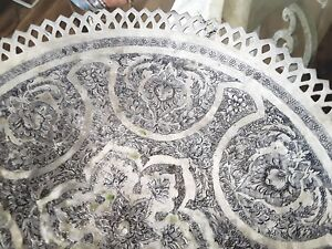 Beautiful Antique Persian Isfahan Solid Silver Footed Dish