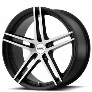 4rims 19 Staggered Kmc Km703 Monophonic Black Brushed Wheels And Tires