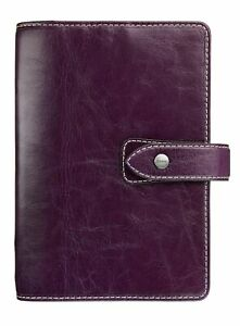 Filofax Malden Personal Purple Vintage Leather Look Organizer Agenda Calendar