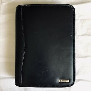 Franklin Covey Classic Planner Black Leather Binder Agenda Organizer 7 ring Zip