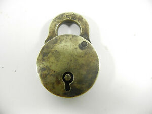Small Vintage Brass Padlock No Key Ideal For Antique Dog Collar Etcg1158