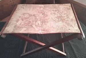 Wood Folding Embroidered Foot Stool Milking Camping Antique Handmade Primitivel