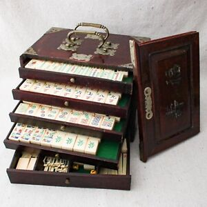 Antique 1920s Chinese Mah Jong Set Rosewood Box 148 Bone Bamboo Tiles Counters