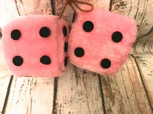 3 5 Light Pink Fuzzy Dice With Black Dots Car Mirror Hanging Dice Bunco Ball