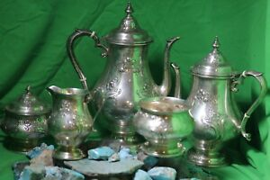 Vintage Alvin Chased Romantique Sterling Silver 5 Pieces Coffee Tea Set 2 387gra