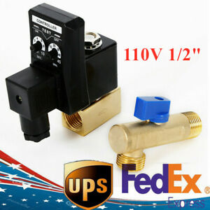 Us Ac 110v 1 2 Electronic Timed 2 Way Air Compressor Gas Tank Auto Drain Valve