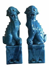 Vintage Chinese Porcelain Turquoise Foo Dogs A Pair 13