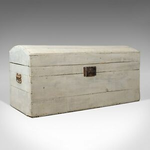 Antique Carriage Trunk Painted Pine Victorian Dome Topped Chest Circa 1890
