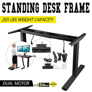 Electric Sit stand Standing Desk Frame Dual Motor Height Ajustable Black