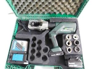 Greenlee Gator E12ccxl11 Battery Powered Crimper Crimping Tool W 6 Dies Burndy